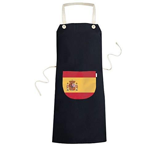 BeatCong españa Bandera Nacional símbolo Europa país Modelo del Signo de cocción de la Cocina Negro Bib Delantal con Bolsillo para los Regalos de Las Mujeres de los Hombres del Cocinero