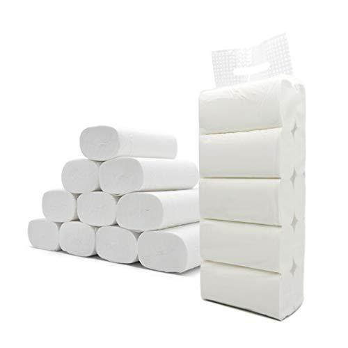 Punchline M Beauty Weiße Toilettenpapierhandtücher - 3-lagiges weißes Badetuch, 10 Rollen einzeln verpacktes Toilettenpapier, glattes, weiches Premium-Toilettenpapier der Professional-Serie