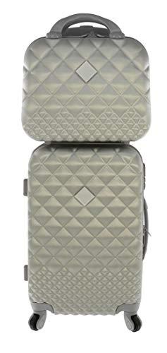 Kamille Milano kofferset 46 l + vanitycase 12 l zilver