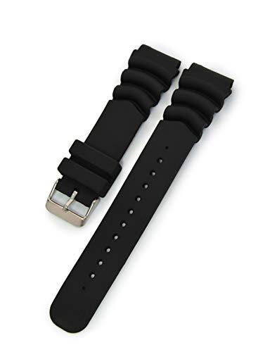 Pulseira de relógio de borracha à prova d'água tipo mergulhador CASSIS 22 mm preta com ferramentas X0032198019022M