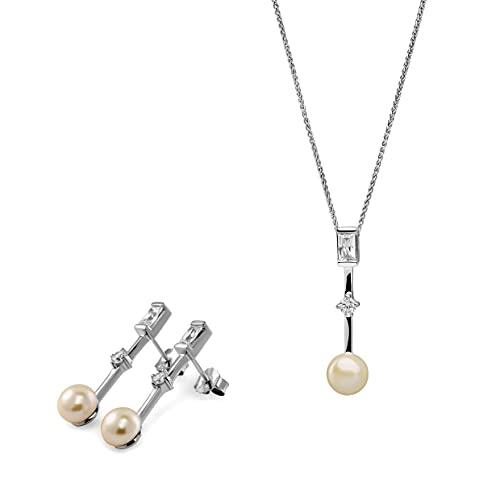 Orphelia Juego de pendientes de plata 925 + colgante con cadena con baguette y circonita redonda y perlas de agua fresca.