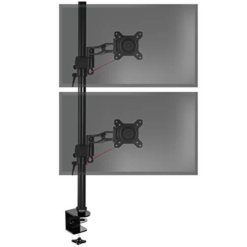 Duronic DM35V2X2 Soporte para 2 monitores de 13 a 27 Pulgadas - Monitor PC LCD LED – Brazo Extensible 18cm - Giratorio e inclinable - Capacidad 8kg – 80 cm de Altura