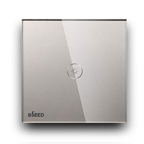 BSEED Dimmer Schalter Berühren Sie den Wandlichtschalter Ausgeglichenes Glas Platten Funktioniert mit Dimmbaren LED-Lichtern 1 Fach 2 Weg Grau