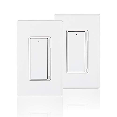 Coby Slide Dimmer Switch for 300W Dimmable LED/CFL and 600W Incandescent/Halogen Light Lamp Bulbs, Single Pole or 3-Way, Rocker Paddle w/Wall Plate, UL Listed, Pack of 2