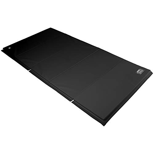 We Sell Mats Gymastics Multi-Sized Portable and Padded Folding Mat for Exercise, Yoga, Martial Arts, Portable with Hook & Loop Fasteners, 5' x 10' (1.5-inch Thick), Black