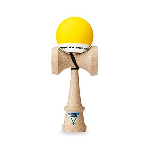 Original KROM Pro Kendama aus Holz für Anfänger und Fortgeschrittene - POP Gelb - Geschicklichkeitsspiel für draußen und drinnen - Holzspielzeug mit Schnur und Ball - Kendama Skilltoy Kugelfangspiel