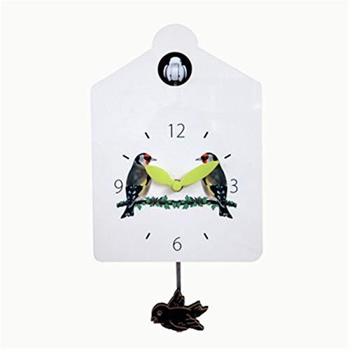 Zhengowen Reloj Cucú Cuckoo Wall Reloj Llamativo Pequeño Birdhouse con Lindo Aves Decoración del hogar Diseño Natural Simple (Blanco) Reloj de Cuco para el Hogar (Color : White, Size : 23x16.5x7cm)
