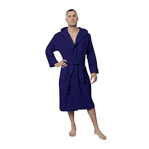 Twinzen Peignoir de Bain Homme - L - Bleu - 100% Coton avec Capuche - Certifié OEKO-TEX® - Robe de Chambre Eponge 2 Poches, Ceinture - Doux, Absorbant et Confort