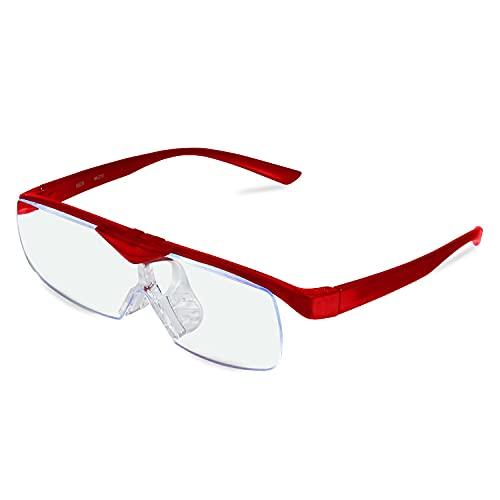 MIDI-ミディ 鯖江のメガネ屋さんが考えたこだわりルーペ MIDIルーペ メガネの上からかけられるルーペ 1.6倍 跳ね上げ おしゃれ メガネ型 拡大鏡 ルーペメガネ メガネルーペ メガネ型ルーペ 6カラー カラー:パールワイン (M-213,C5)