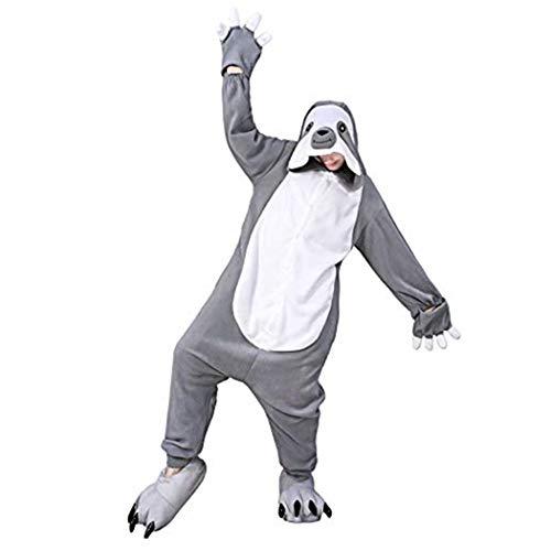 dressfan Faultier Onesie Animal Overall Faultier Schlafanzug Pyjamas Unisex Polar Fleece Performance-Kleidung