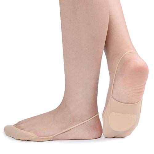 Zeltauto 4er-Pack Füßlinge Socken mit Fußpolster für Slingback Sandalen (Beige, EU 35-38)