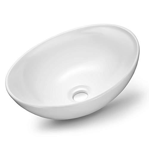 VMbathrooms Premium Waschbecken Oval | Aufsatzwaschbecken für das Badezimmer und Gäste-WC | Waschschale ohne Hahnloch und ohne Überlauf | Rein-weißes Aufsatzbecken in zeitloser Optik