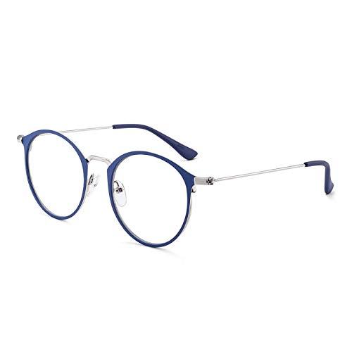 Miwaimao Gafas antideslóticas de Bloqueo de luz para Anti-Dolor de Cabeza y Ojos Colar Super Peso Ligero Retro Square Gaming Ordenador Leyendo Gafas Marco de aleación c3blue