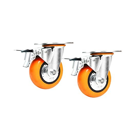 Rueda universal, ruedas de freno silenciosas y suaves, a prueba de polvo, rueda de remolque de camión de 4/5/6/8 pulgadas, 2 piezas (color: rueda de freno, tamaño: 5 pulgadas)