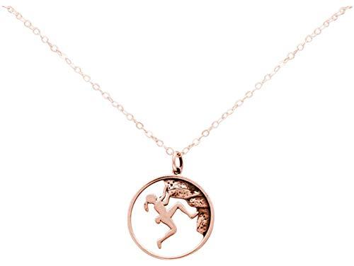 Gemshine Alpin Berg Klettern Halskette in 925 Silber, hochwertig vergoldet oder rose. Sportschmuck - Made in Madrid, Spain, Metall Farbe:Silber rose vergoldet