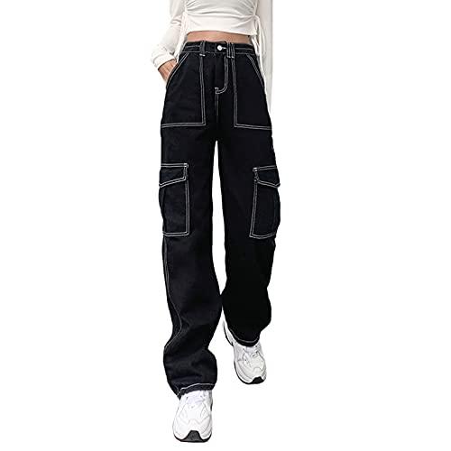 Zukmuk Jeans Dritti a Gamba Larga da Donna Pantaloni in Denim a Vita Alta con Cuciture alla Moda vestibilità Rilassata con Tasche Pantaloni Casual (Nero, L)
