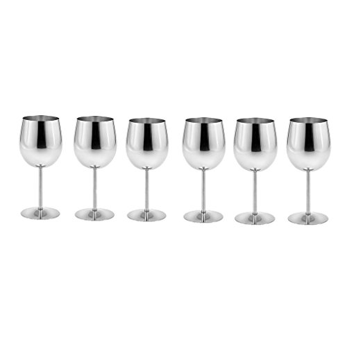King International Stainless Steel Wine Glass Champagne Goblet Cup Drinking Mug SET OF 6 PIECES Elegant Wine Glasses Made of Dishwasher Safe Unbreakable BPA Free Shatterproof SS Great for Daily