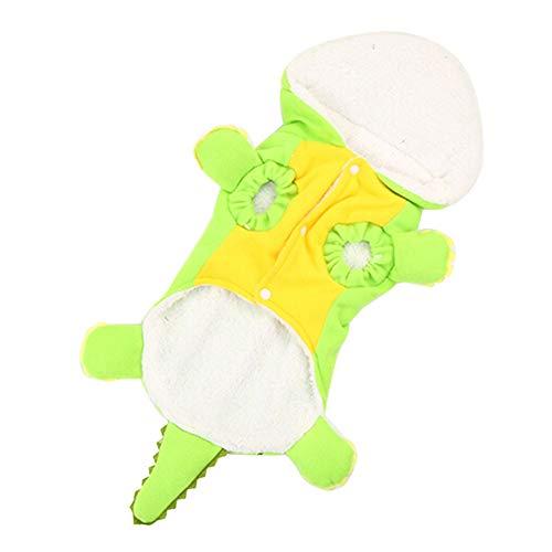 zNLIgHT Verwendung für erdicken mit Kapuze krokodil Form Hund Mantel welpen kostüm Pyjamas warm Outwear - Grün + Gelb L