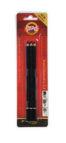 Koh-I-Noor 8811 matita carboncino nero (confezione da 3), black