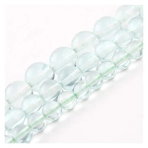 HETHYAN 6 cuentas redondas de cuarzo natural de cristal verde de 10 mm para hacer joyas, pendientes, pulseras, collares de 45 cm (tamaño: 6 mm, 61 unidades)