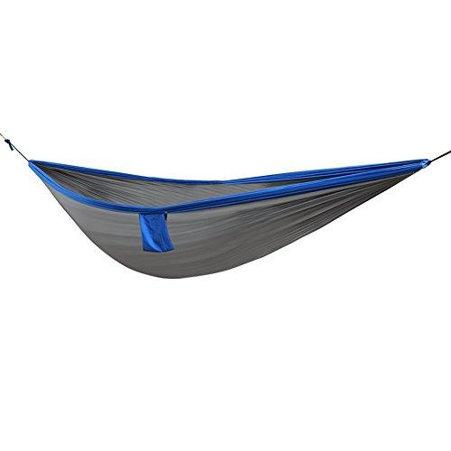 Seawang Neuf Double Personne Voyager Camping en Nylon Tissu Hamac Parachute Veille Swing Gray+Royal Blue