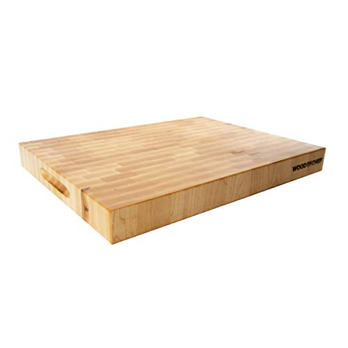 Premium Butcher Block - Maple End Grain Cutting Board - Responsibly Sourced USA Wood FSC Certified - Perfect for When Things Get Serious 16 in x 12 in x 15 in
