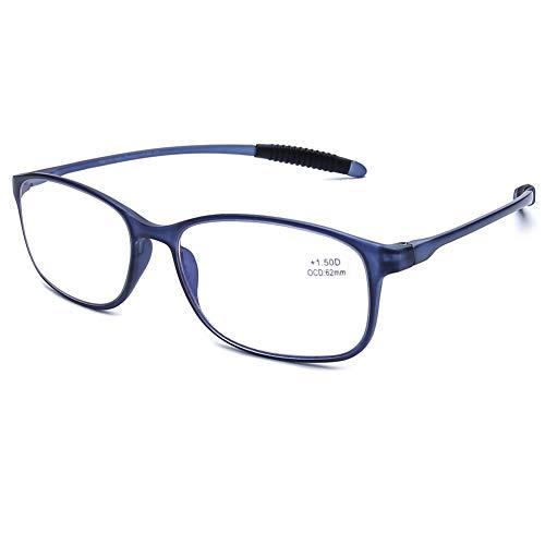 DOOViC Blaulichtfilter Computer Lesebrille Matt Blau/Eckig Flexible Bügel Brille mit Stärke für Damen/Herren 1,75