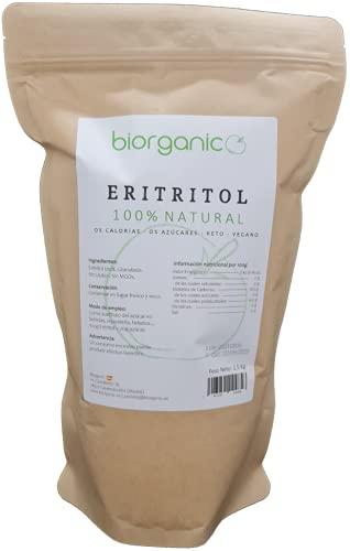 Biorganic Eritritol 1,5 Kg 100% Natural. Edulcorante Cero Calorías. Dieta Keto y diabéticos. Granulado