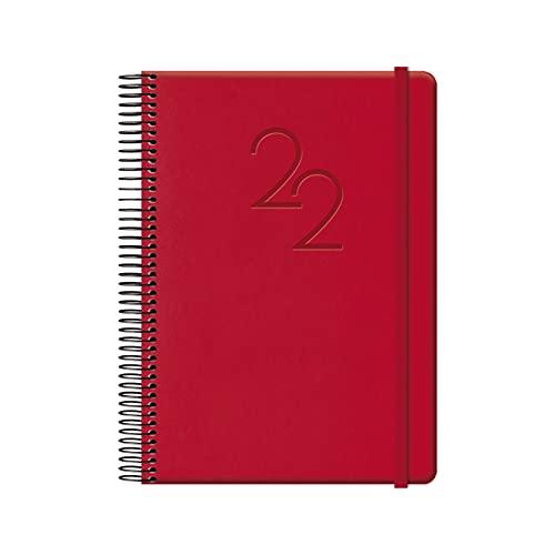 Agenda Anual 2022- Organizador Semanal - Cada Día Una Página - Tamaño Mediano 15 x 21 cm - Modelo Cabana - Color Rojo - Planificador Mensual Portable - De Anillas - Dohe