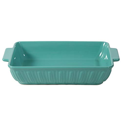 FE Baking Dish, Rome Pillar Casserole Dish, Ceramic Bakeware 11x8 Oven to Table, Lasagna Pan for Dinner & Banquet (Mint Green)