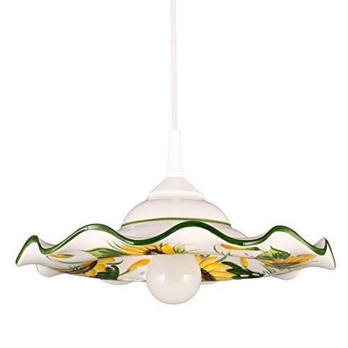 Helios Leuchten 207057 kleine Küchenlampe Keramiklampe weiss-grün | Pendellampe Pendelleuchte aus Keramik | handbemalte Keramikleuchte | Esstisch Hängelampe 1 x E27