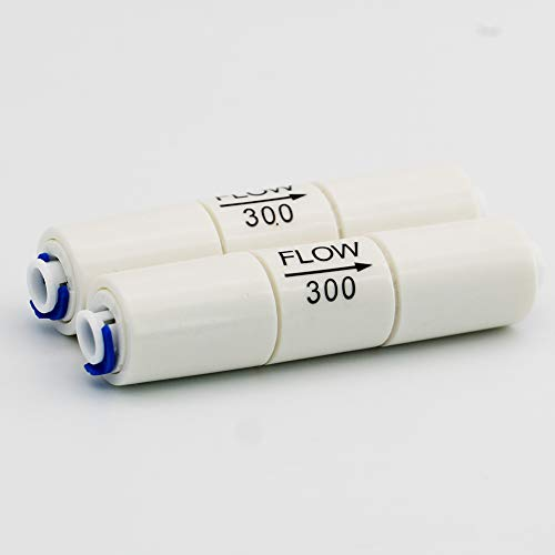 DIGITEN 50GPD Flow Restrictor 300CC 1/4 Quick Connect for RO Reverse Osmosis (pack of 2)
