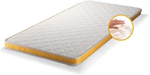 LDN Topper Mattress Memory Foam, Double Sided Memory Mattress Topper Pads, White & Yellow Deluxe line, (160 x 200 x 8 cm)