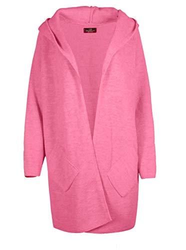 Zwillingsherz Strickjacke Cardigan für Damen Frauen - Hochwertiger Mantel Überwurf warm weich und kuschelig mit Kapuze - Perfekt für Frühjahr Herbst Winter - Cape Umhang mit weichem Strick - pink
