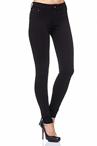 Elara Damen Stretch Hose Skinny Fit Jegging Chunkyrayan H01 Black 34 (XS)