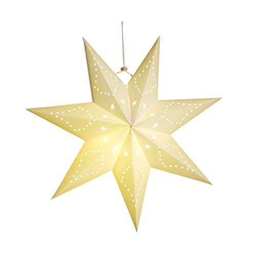 LIOOBO 7 Pointed Star White Paper Lantern Paper Star Ceiling Lampshade Hanging Ornament for Christmas Wedding Birthday Party Home Decoration 4545cm