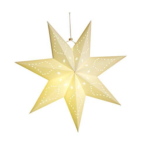 VOSAREA Laternen aus Papier, Lampenschirm mit Sternen, zum Aufhängen an der Wand, Dekoration für Weihnachten, LED-Licht, Hochzeit, Geburtstag, Weihnachten, Party, Dekoration (weiß)
