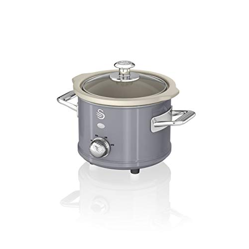 Swan Retro Grey 1.5 Litre Slow Cooker, 3 Temperature Settings, Keep Warm Function, Removable Ceramic Inner Pot, 32 Page Recipe Book, 120W, SF17011GRN
