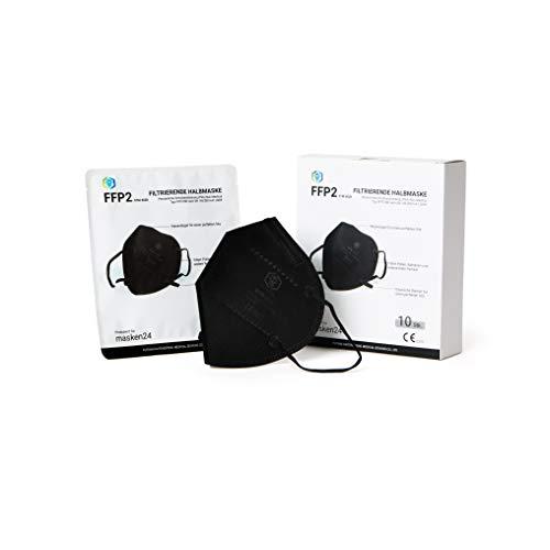 MASKEN24 STM 6020 Zertifizierte FFP2 Maske Faltbar - 10 Stück einzelverpackt im PE-Beutel - Staubmaske Atemmaske 5-lagige Mundmaske (Schwarz)