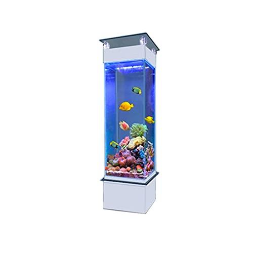 DUTUI Quadratisches Familien-Aquarium, Vertikales Aquarium in Wohnzimmer Und Büro, Glas-Aquarium Ohne Wasserwechsel, Goldenes Aquarium, Obere Bar,50cm