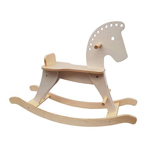 Cavallo a Dondolo: Legno, privo di plastica, con anello di sicurezza, giocattolo da 1 anno