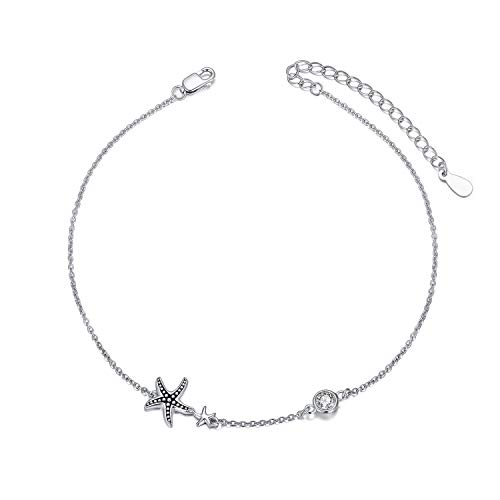 AOBOCO Boho Starfish Anklet for Women 925 Sterling Silver Adjustable Foot Ocean Beach Ankle Bracelet for Summer, Made with Austrian Crystal