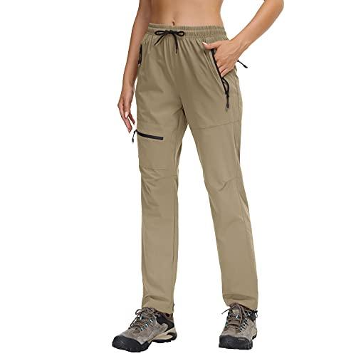 Butrends Damen Outdoorhose Wasserdicht Schnell Trocknende Wanderhose UPF50 Trekkinghose Funktionshose mit Reißverschlusstaschen, Khaki, S