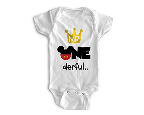 Perfect Pairz First Birthday Outfit 1st Baby Boy Bodysuit-Mickey Onederful (18M - Short Sleeve)