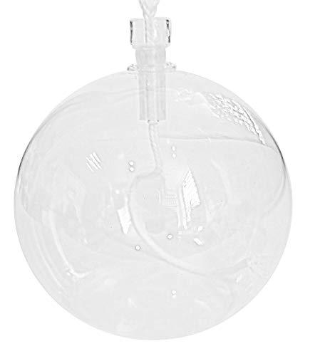 Öllampe runde Glasölampe mit Kindersicheren Dochtführung aus klarem Glas zum hinstellen mit 3 mm Rundocht Tischlampe mundgeblasenes Kristallglas Durchmesser ca. 6 cm Höhe ca 5,6 cm