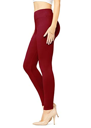 Conceited Buttery Soft High Waisted Leggings for Women in Reg and Plus - 25 Colors Full Length Wine Burgundy - One Size