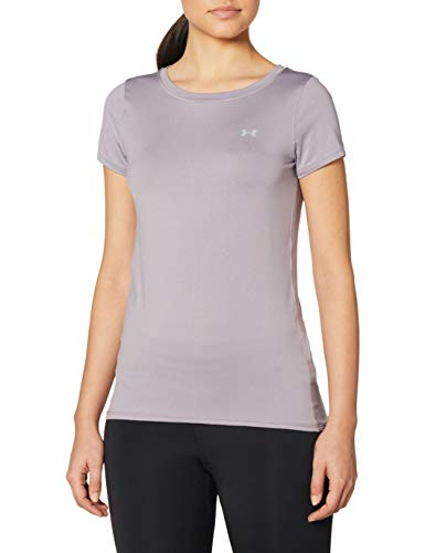 Under Armour Damen Kurzarm-Shirt HeatGear Armour Kurzarmoberteil, Slate Purple//Metallic Silver (585), S, 1328964-585