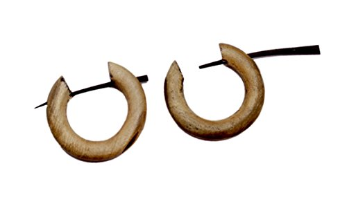 Un par de pendientes de madera de coco marrón natural moda redonda de madera de palo gitano AUSE282
