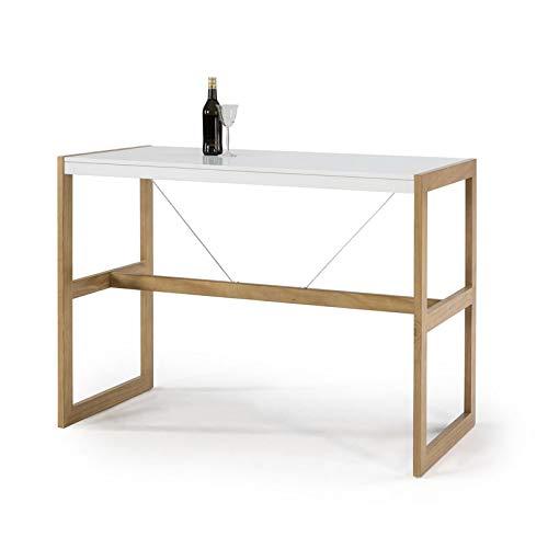 Tousmesmeubles Table Haute rectangulaire Blanc/Chêne - Odile - L 140 x l 70 x H 104 - Neuf