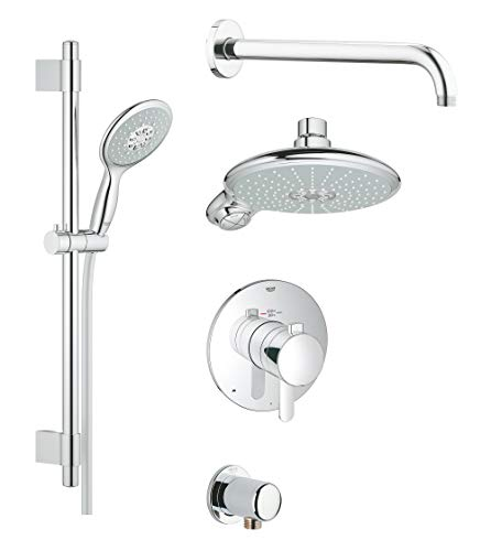 GROHE 35052000 Europlus Cosmopolitan Thermostatic Shower Set, 2.5 GPM, Starlight Chrome
